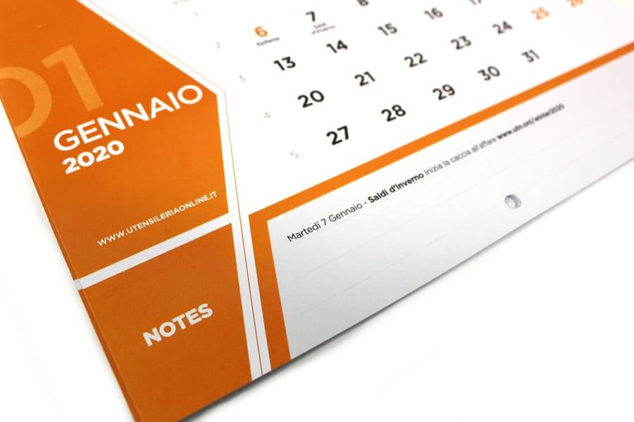 Calendario 2020 UtensileriaOnline con pratica sezione NOTE dove appuntare tutti i tuoi appuntamenti importanti