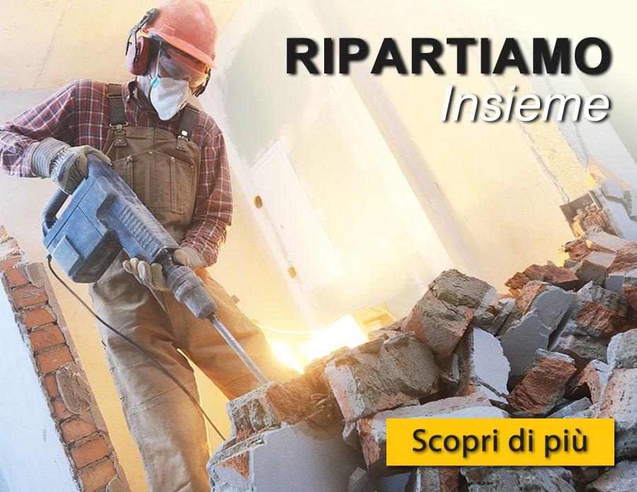Campagna RIPARTIAMO insieme UtensileriaOnline - Offerte e promo sugli attrezzi indispensabili in edilizia