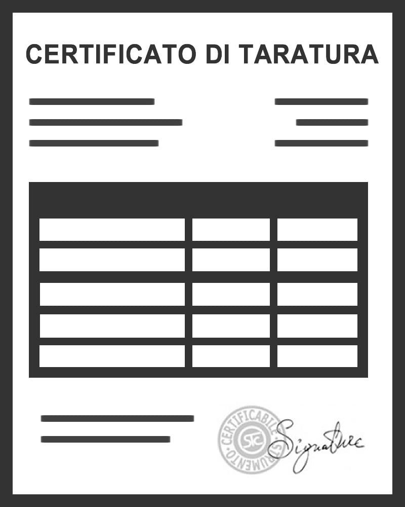 Fax-simile certificato di taratura strumento di misura
