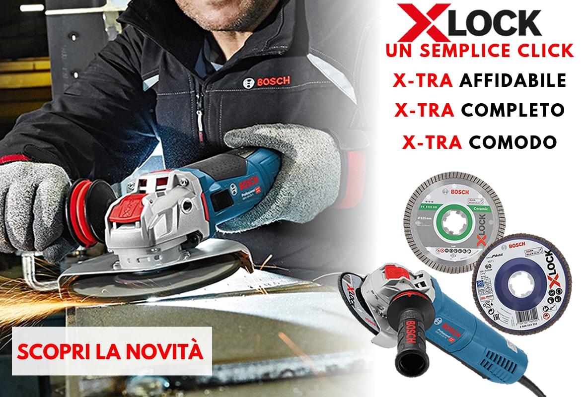 Nuova tecnologia X-LOCK Bosch per la sostituzione immediate dei dischi delle smerigliatrici