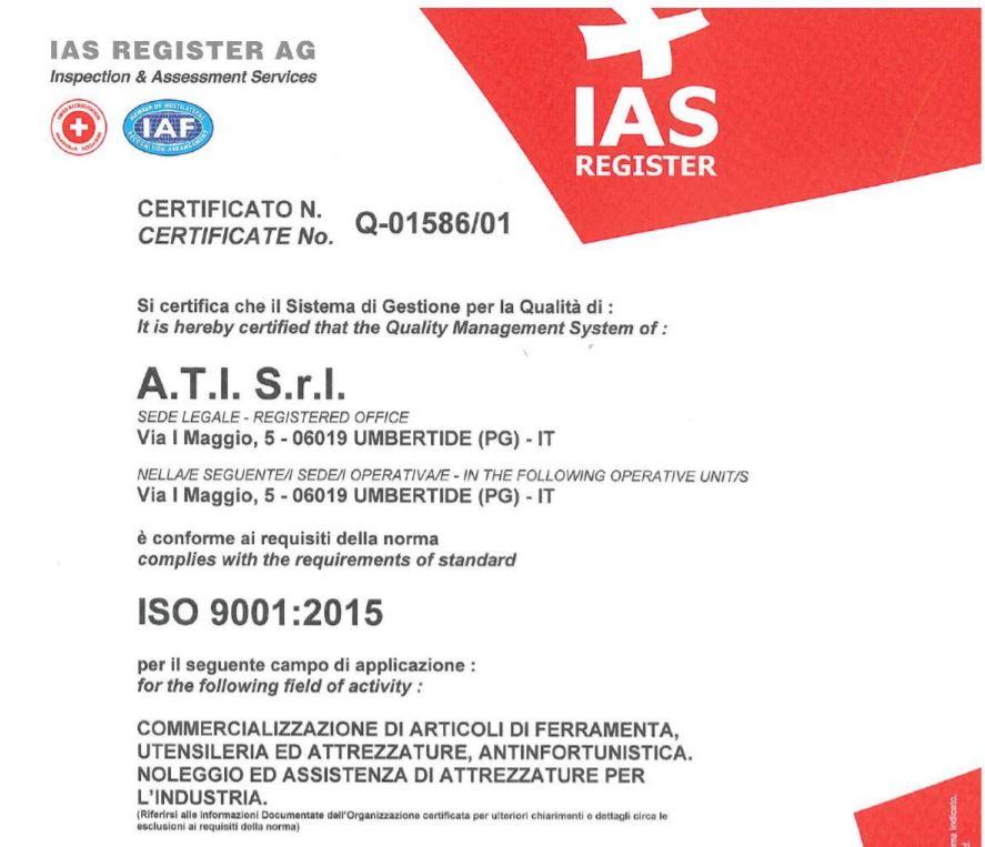 Copia certificato ISO 9001:2015 UtensileriaOnline
