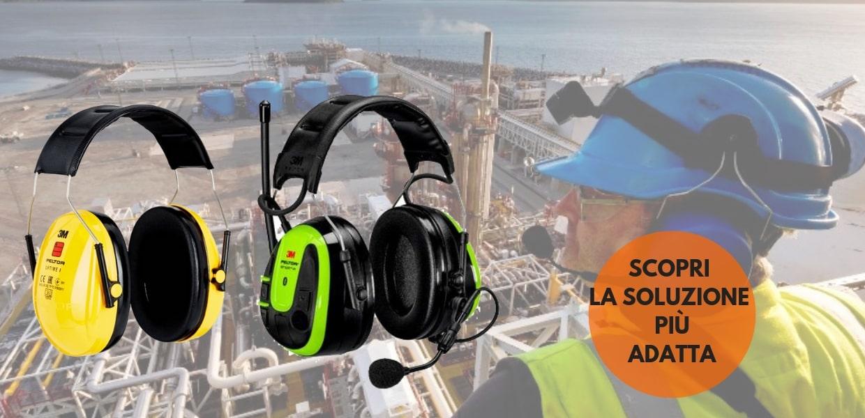 DPI sicurezza dell'udito: cuffie e tappi antirumore 3M e Peltor