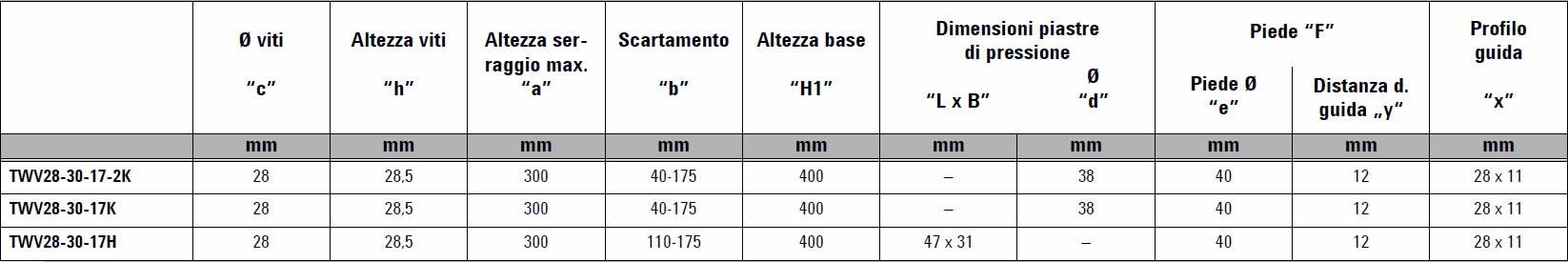 tabella dettagliata elementi di serraggio TWV28