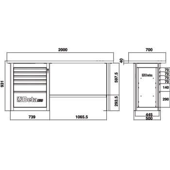 Misure banco Beta C59A con 6 cassetti