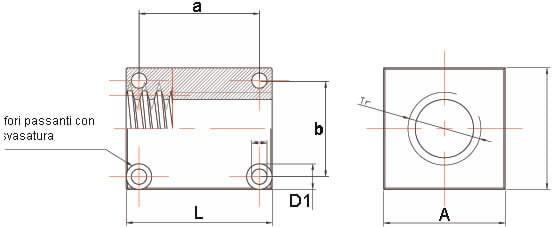 Dati tecnici Madrevite in acciaio quadra MAQF