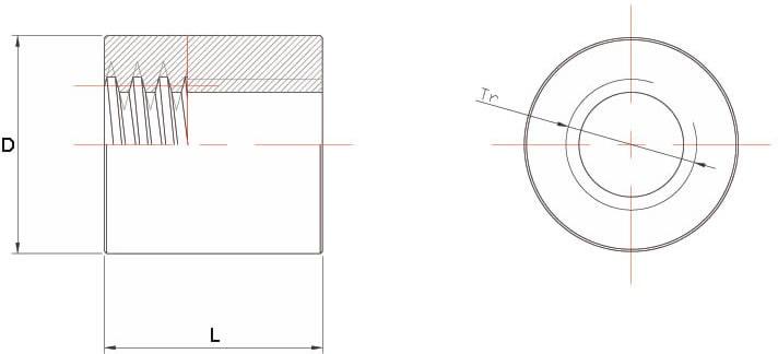 Dati tecnici Madrevite in bronzo cilindrica MBC
