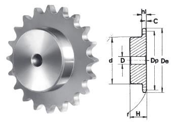 tabella dettagliata pignone per catena semplice