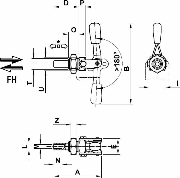 immagine dettagliata bloccaggio asta di spinta 80/ASX