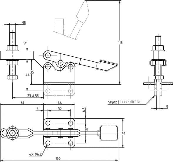 immagine dettagliata bloccaggio verticale SH-12