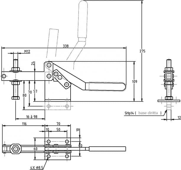 immagine dettagliata bloccaggio verticale SH-14