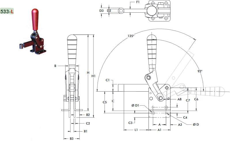 immagine dettagliata bloccaggio verticale 533-L
