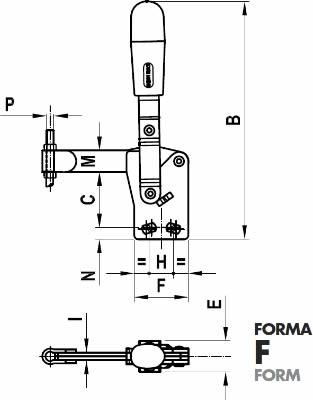 immagine dettagliata bloccaggio verticale 75/F