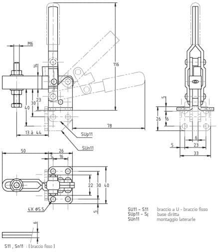 immagine dettagliata bloccaggio verticale SU-11