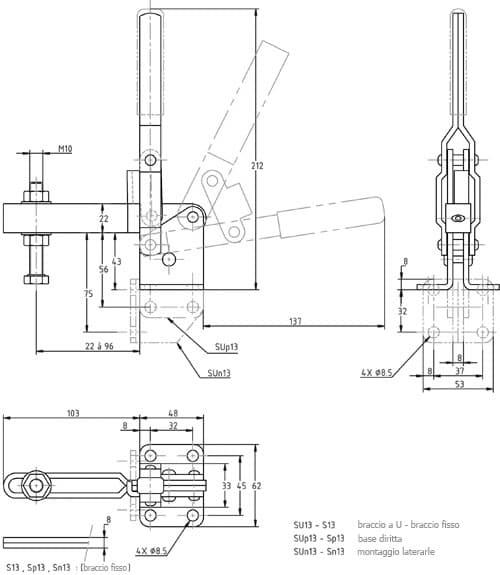 immagine dettagliata bloccaggio verticale SU-13
