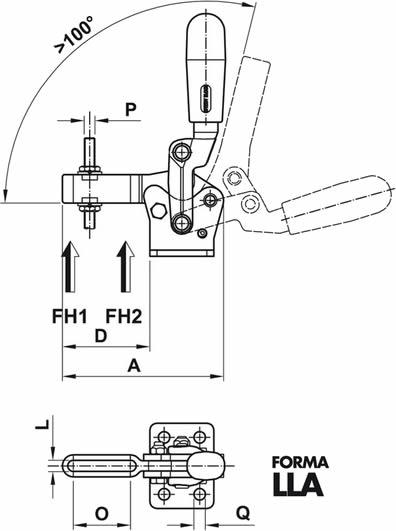 immagine dettagliata bloccaggio verticale rinforzato LLA01
