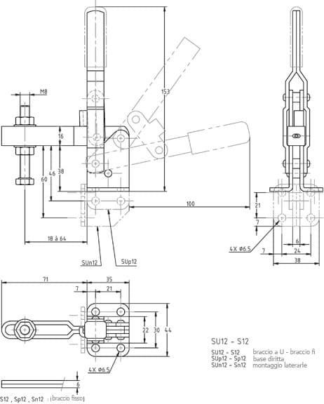 immagine dettagliata bloccaggio verticale SU-12