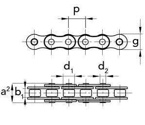 tabella dettagliata catena a rulli EUROPEA