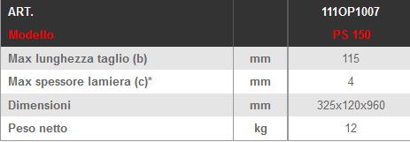 Dettagli e misure cesoia a leva LTF