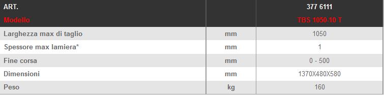 Dettagli e misure cesoia manuale LTF