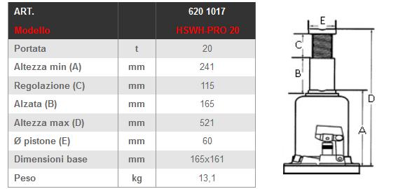 Dettagli e misure cric a bottiglia LTF