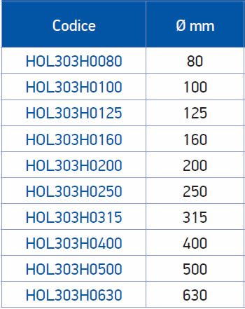 tabella dettagliata griffe integrali 303H