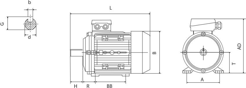 tabella dettagliata motore elettrico B3