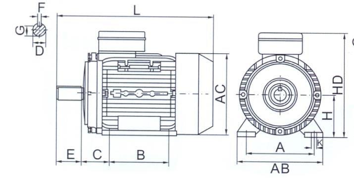 tabella dettagliata motore elettrico B3 MYT
