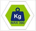 max 390Kg carico complessivo consentito