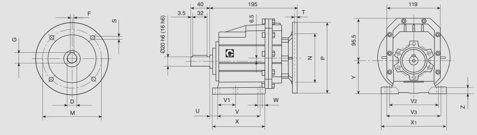 tabella dettagliata riduttore coassiale CHC-P 20