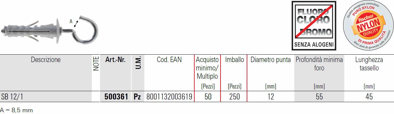 scheda tecnica tassello  a espansione SB 12/1 fischer