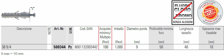 scheda tecnica tassello  a espansione SB 9/4 fischer