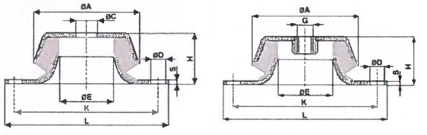 Dettaglio misure supporti antivibranti a campana in metallo