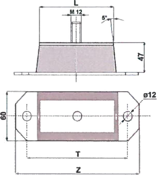 Dettaglio misure supporti antivibranti elastici a parabola