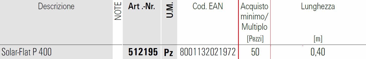 Scheda profilo Solar FLAT P 400 Fischer