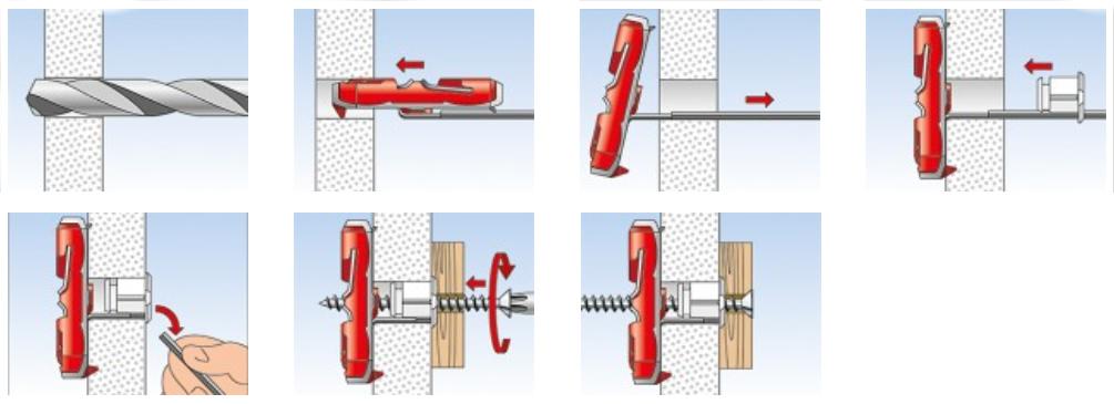 Tassello basculante duotec in nylon con vite cilindrica for Fischer per cartongesso
