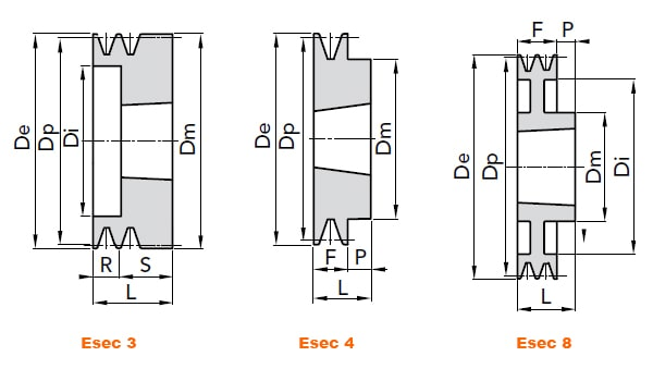 illustrazione misure pulegge 1 gola SPA taper lock 01