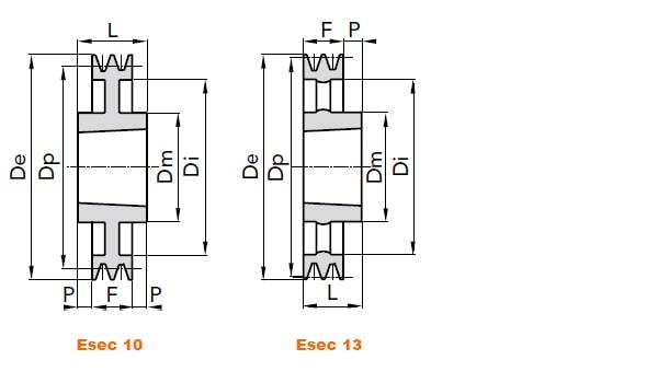 illustrazione misure pulegge 1 gola SPA taper lock 02