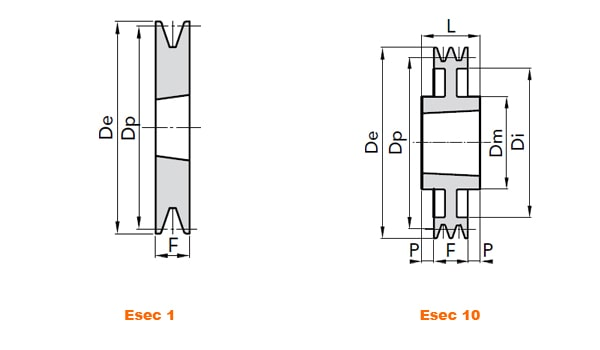 illustrazione misure pulegge 1 gola SPB Taper Lock 01