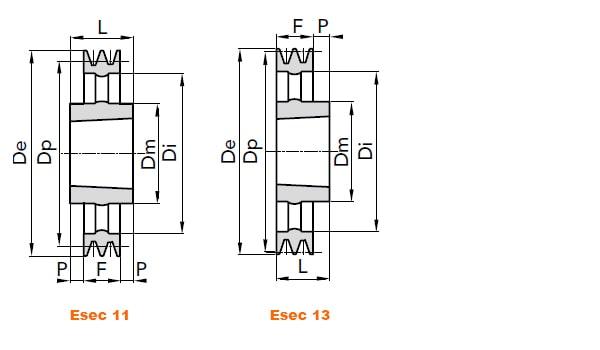 illustrazione misure pulegge 1 gola SPZ taper lock 02