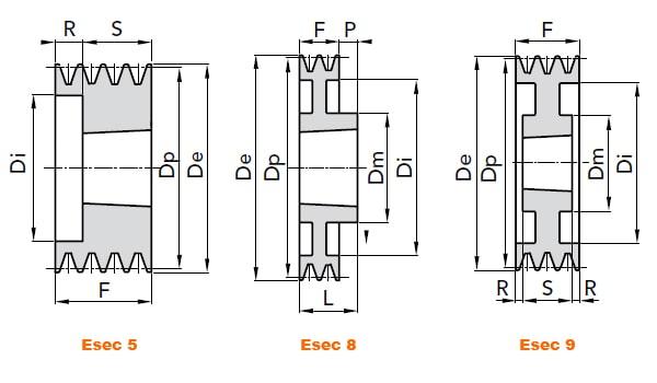illustrazione misure pulegge 2 gole SPA 01
