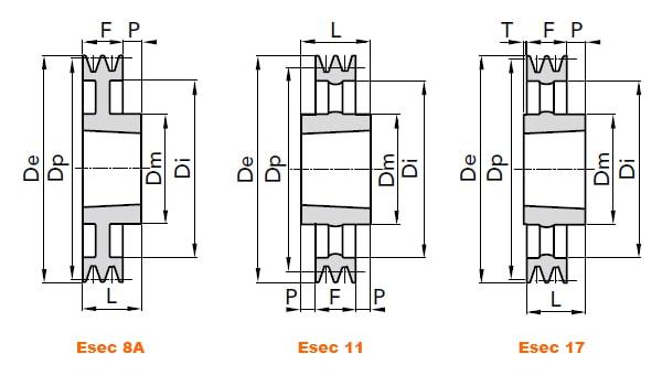 illustrazione misure pulegge 2 gole SPB 02