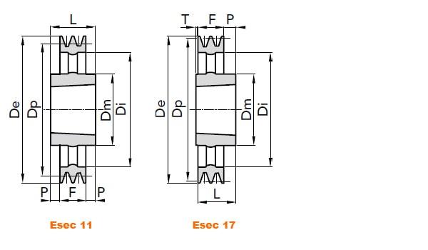 illustrazione misure pulegge 3 gole SPC 02