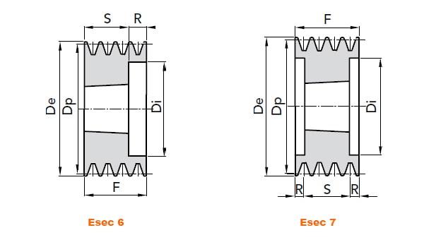 illustrazione misure pulegge 4 gole SPB 01