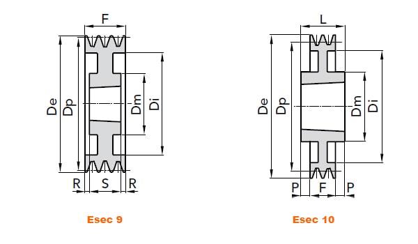 illustrazione misure pulegge 4 gole SPB 02