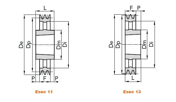 illustrazione misure pulegge 4 gole SPB 03