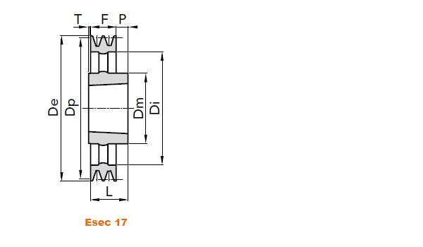 illustrazione misure pulegge 4 gole SPB 04