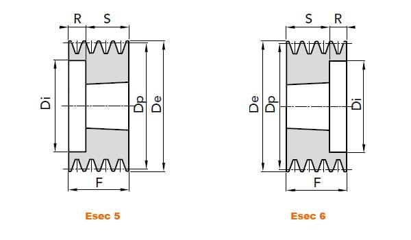 illustrazione misure pulegge 4 gole SPZ 01