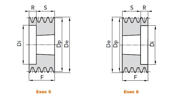 illustrazione misure pulegge 5 gole SPA 01