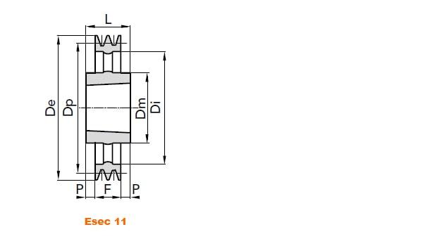 illustrazione misure pulegge 5 gole SPA 04