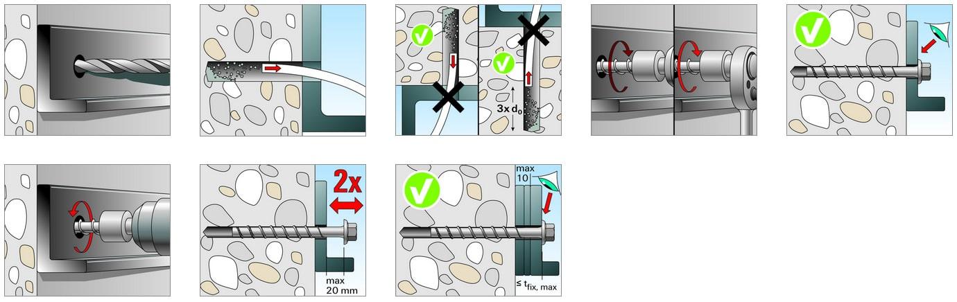 Istruzioni di montaggio vite ULTRACUT FBS II 6 M8/19 e M10/21 Fischer